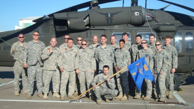 Marisol Chalas (front row, third from right) and some of the soldiers from her command, A Company 7-158th Aviation Regiment at Fort Hood in October 2010. (Photo credit: Marisol Chalas)