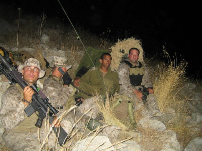 Brandon and fellow soldiers on deployment. (Photo credit: Brandon Buttrey)
