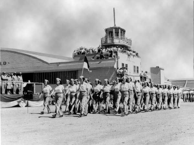 WASP marching in formation at a graduation ceremony, Avenger Field. (Photo credit: National WWII WASP Museum)