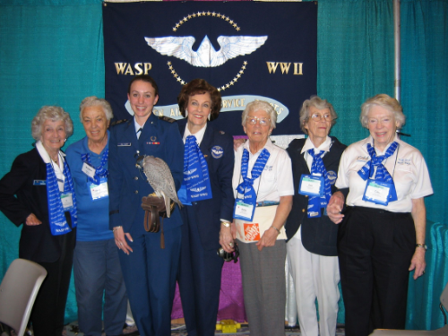 "Cadet Falconer (responsible for handling the mascot Falcon) Krysta Doran in her sophomore year at the Academy at the Women in Aviation Conference with WASP Violet Cowden, Margaret, Florene Miller Watson, Betty Morton Brown, Dorothy ""Dot"" Swain Lewis, and Carol Bayley Bosca. (Photo credit: Krysta Doran)"