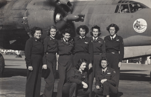 Jocelyn, second from left, with her fellow classmates in front of the B-26. Jocelyn was sent to Yuma, Arizona to fly the B-26 and tow targets in August 1944 where she stayed until the WASP were disbanded. (Photo credit: Lorraine Evernham Frigolet)