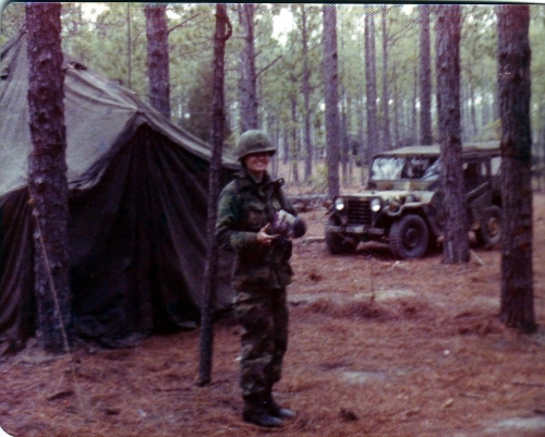 Siebrands on a field exercise at her initial Army training, 1976