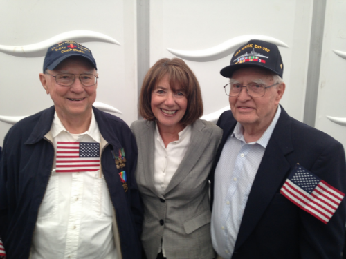 Susan Davis with D-Day veterans at Normandy (Photo Credit Rep. Susan Davis's office)