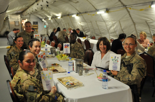 Susan Davis dines with women soldiers at a Mother's Day luncheon at Camp Marmel in Masar-E-Sharif, Afghanistan. (Photo credit: Rep. Susan Davis's office)