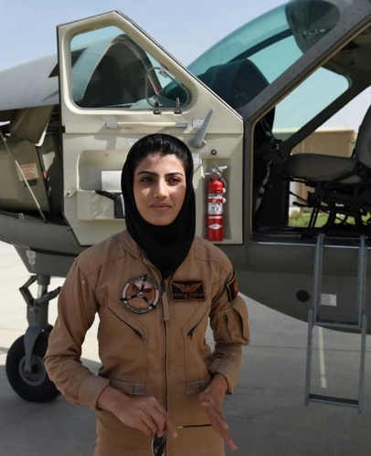 Niloofar Rahmani (Afghanistan). First woman pilot in the Afghan Air Force since the fall of the Taliban in 2001. First female fixed-wing Air Force aviator in Afghanistan's history.  (Photo credit:  NDTV.com )