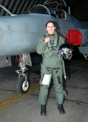 Karina Miranda (Chile). First Chilean woman pilot to break the sound barrier.  (Photo credit:  m.radiopolar.com )