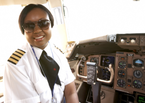 Irene Koki Mutungi (Kenya). First female black African captain for Kenya Airways.  (Photo credit:  mashada.com )