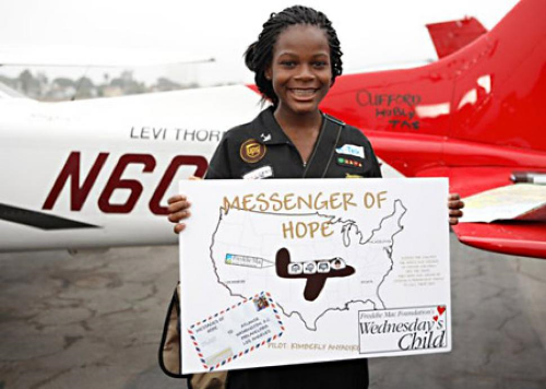 Kimberly Anyadike at age 15 standing in front of her single-engine Cessna during her cross country trip. (Photo: Kimberly Anyadike's public facebook page)