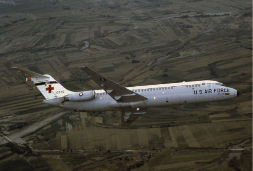 The McDonnell Douglas C-9 is a military version of the McDonnell Douglas DC-9 airliner. It was produced as the C-9A Nightingale for the United States Air Force, and the C-9B Skytrain II for the U.S. Navy and Marine Corps.