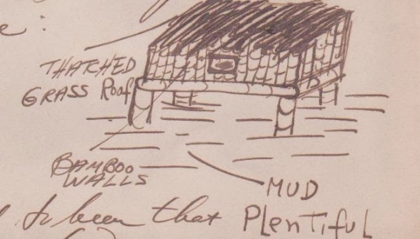 Arthur's drawing of the thatched huts...