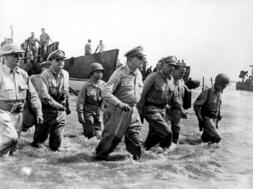 General MacArthur lands on Leyte. (Photo: National Archives)