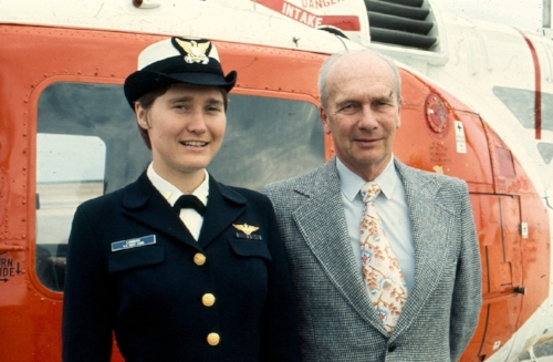 Lambine and her father Naval Flight Training graduation day, 1977.