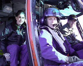 LCDR Sidonie Sansom Bosin (middle), Aviation Flight Mechanic Dani Keating (left) & Lt. Kelly Larson (right), were the Coast Guard's first all-female helicopter flight crew in Antarctica. (Photo: Kristan Hutchison)
