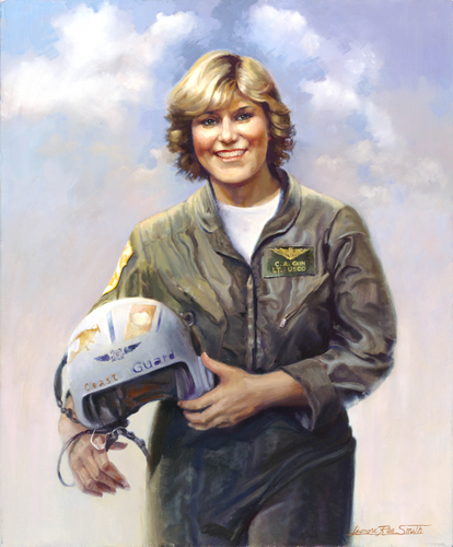 LT Colleen Cain, USCG. First female HH-52A helicopter pilot. Portrait by Leonora Rae Smith.