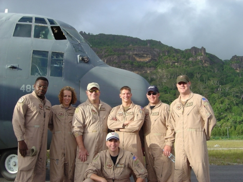 Capt Mizell and crew in the Seychelles on deployment to Djibouti. (Photo: Gina Mizell)