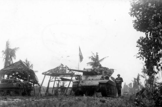 M10 Wolverine & M4 Sherman of 77th Infantry Division. Leyte, 1944 (Photo: WWII Archives)