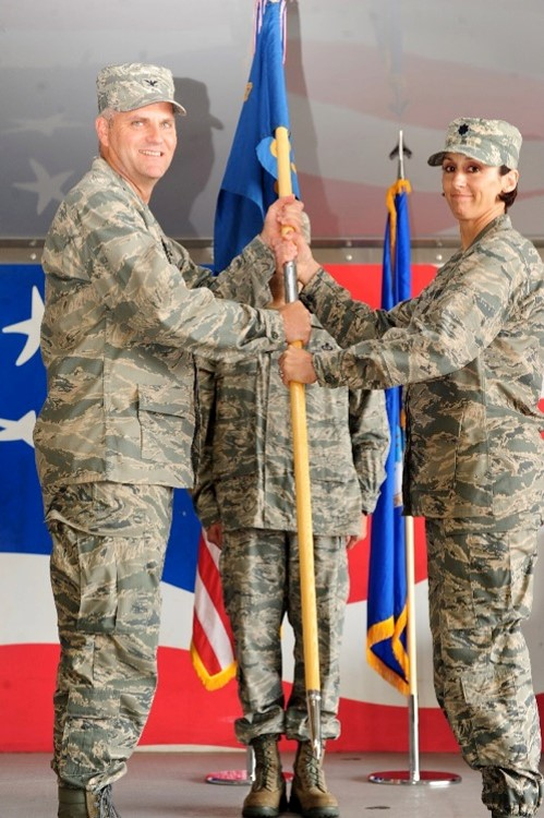 Taking command of the 4th Operations Support Squadron at Seymour Johnson AFB, NC. June 2013. (Photo: Christine Mau)
