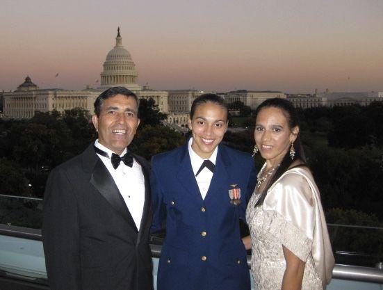 LCDR Davila with parents Angel & Jenny at MANA Las Primeras®. (Photo: Jessica Davila)