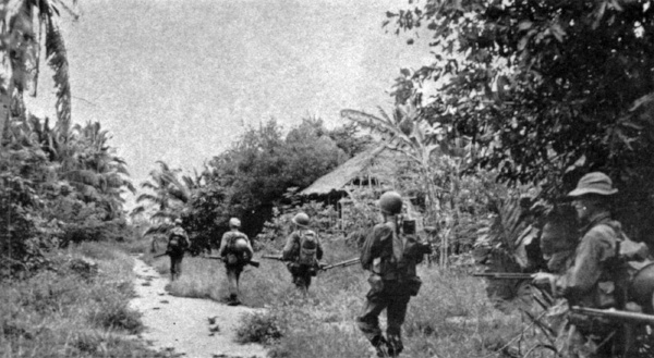 American soldiers on patrol in Leyte, January 1945. (Photo: 182nd Infantry)