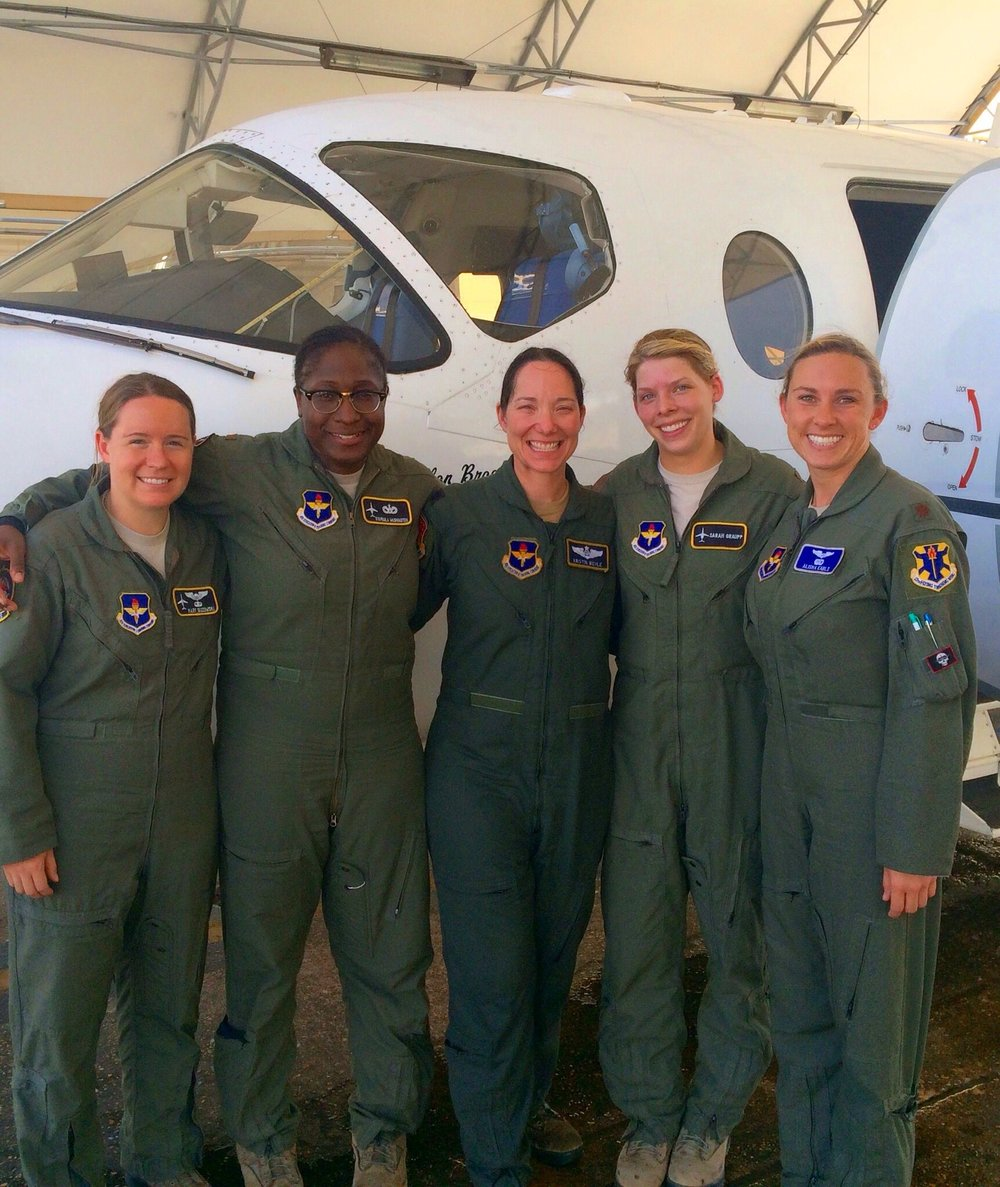 Lt Col Wehle (middle) with her fini flight crew. From L-R,  Capt Mary Guzowski, 2d Lt Nyapaula Washington, 2nd Lt Sarah Graupp and Maj Alisha Earls.  (Photo: Capt Megan O'Rourke)