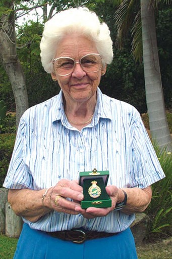 Nancy Livingston Stratford proudly displays her British Badge of Honour for her service in the Air Transport Auxiliary during WWII. (Photo: Nancy Livingston Stratford)