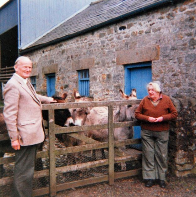 Constance with her lifelong friend Walter Runciman and her rescued donkeys. (Photo: Dora Ions)