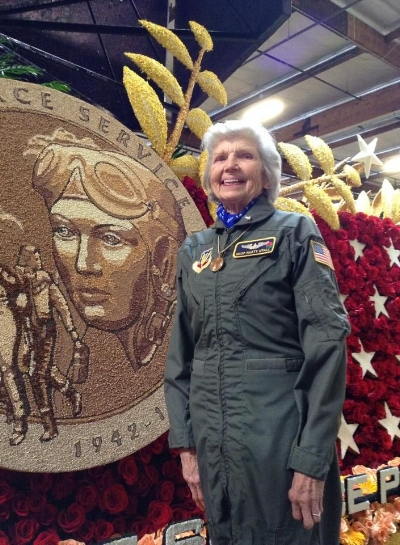 Marty Wyall on the WASP Rose Bowl Parade Float in 2014. (Photo: Hannah Wyall)