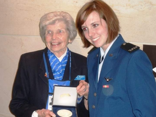 Hannah with Marty, proudly displaying her WASP Congressional Gold Medal. (Photo: Hannah Wyall)