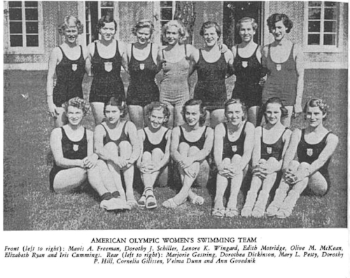 American Olympic Women's Swimming Team (Photo: A Vibrant View: The Official Blog of Phi Mu Fraternity. Iris Critchell is on the bottom row, right)