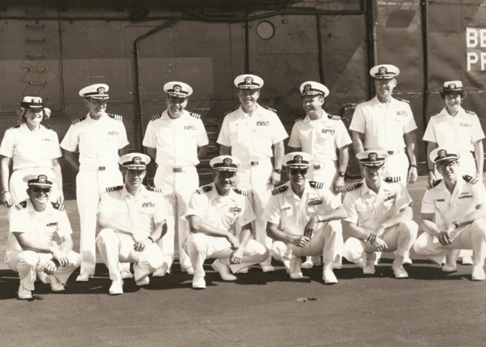 O'Dea, top left, with her fellow department heads on the U.S.S. Lexington, 1984