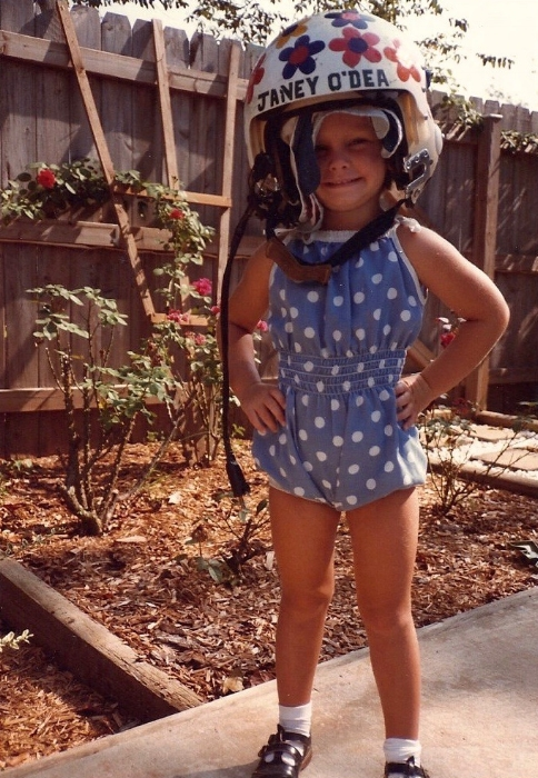 O'Dea's youngest daughter dressing up in her mom's helmet