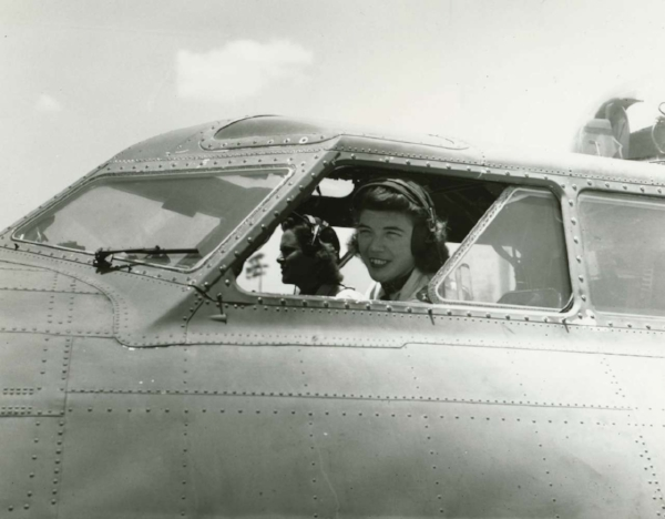 Dawn Seymour in the B-17. (Photo: CBS News)
