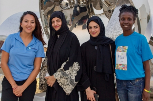 Shaesta, Maryam Al Balooshi and Shaima Alkamali (WAI Middle East Chapter) and Fadi Noutchemo Simo (WAI Cameroon Chapter). (Photo: Falcon View Films)