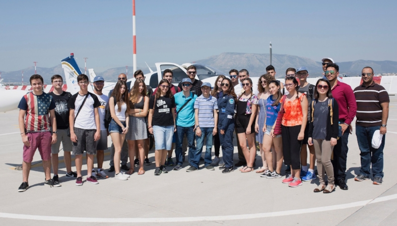 Shaesta with a group of kids at the Athens International Airport. (Photo: Dreams Soar)