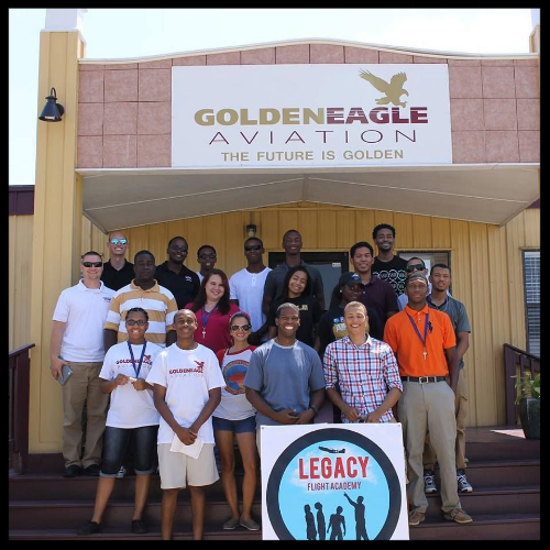 Major Ruffin and young participants at Legacy Flight Academy, Moton Air Field in Tuskegee, Alabama. (Photo: Legacy Flight Academy)