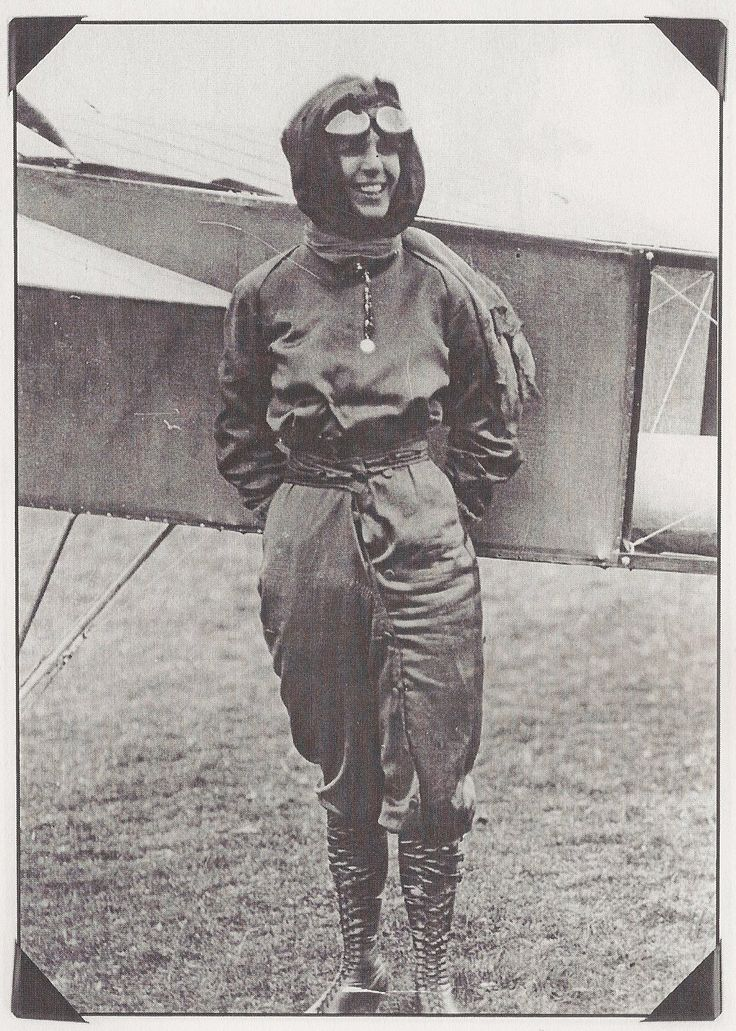 Harriet Quimby in her trademark violet flightsuit. (Image: Library of Congress)