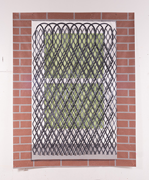Brownstone Window , 2015, acrylic on cut Tyvek w/grommets, by Hannah Cole. Courtesy of the artist and Slag Gallery, N.Y.