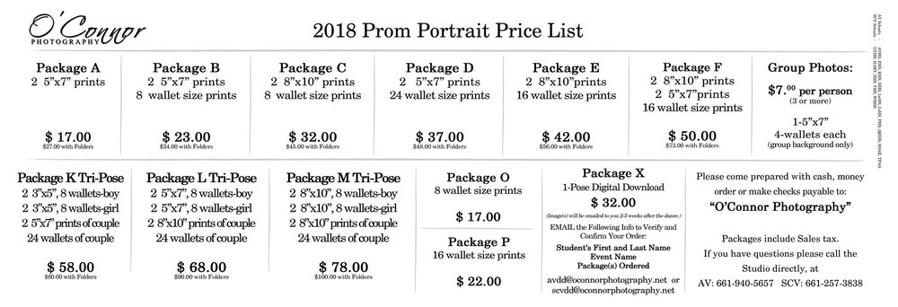 2018 Web Prom Price List