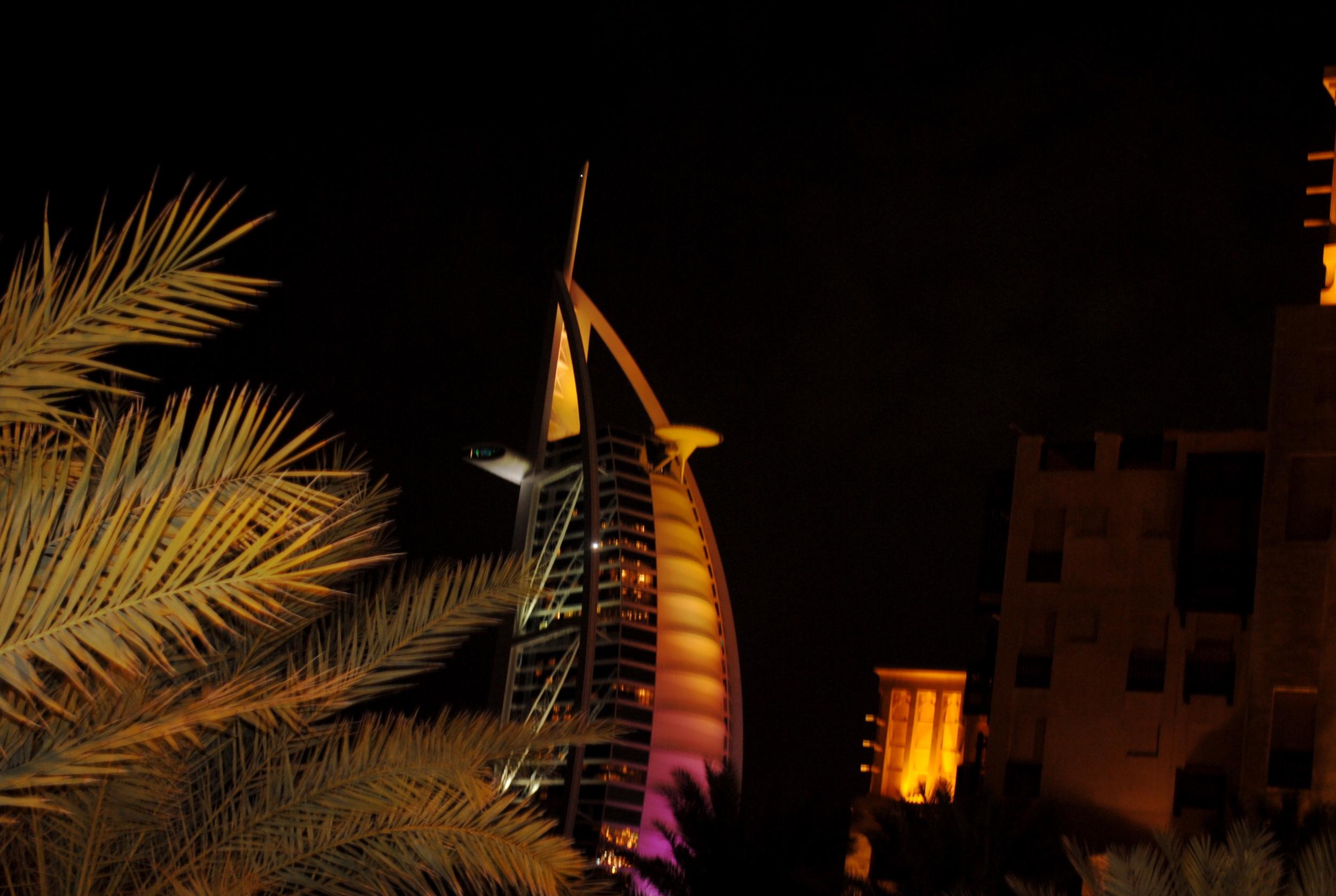 Burj Al Arab is the stunning backdrop for dinner.