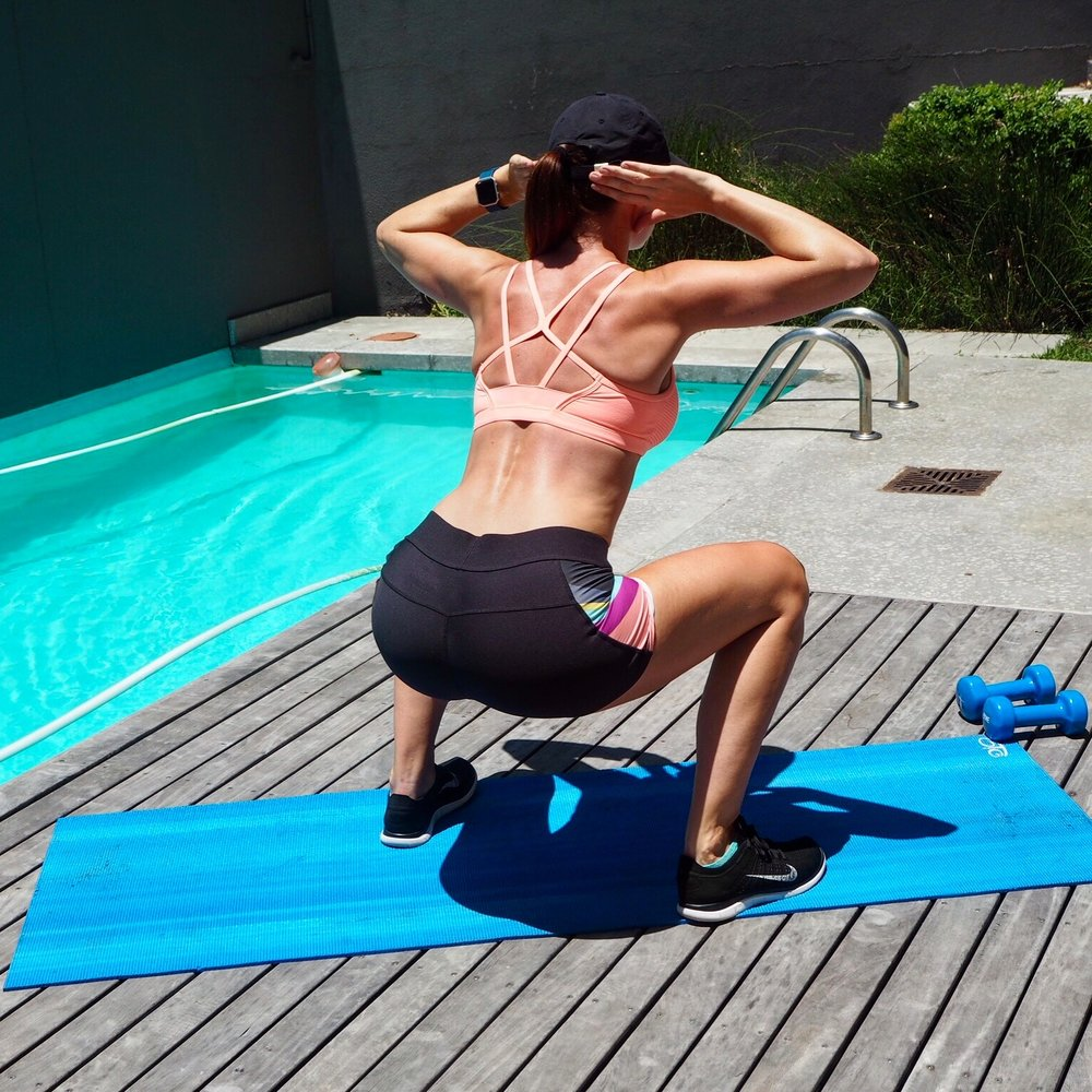 Bodyweight exercise like Air Squats are a great way to tone and strengthen the muscles of your buttocks--gluteus minimus and maximus--and your thigh muscles, the hamstrings and quadriceps