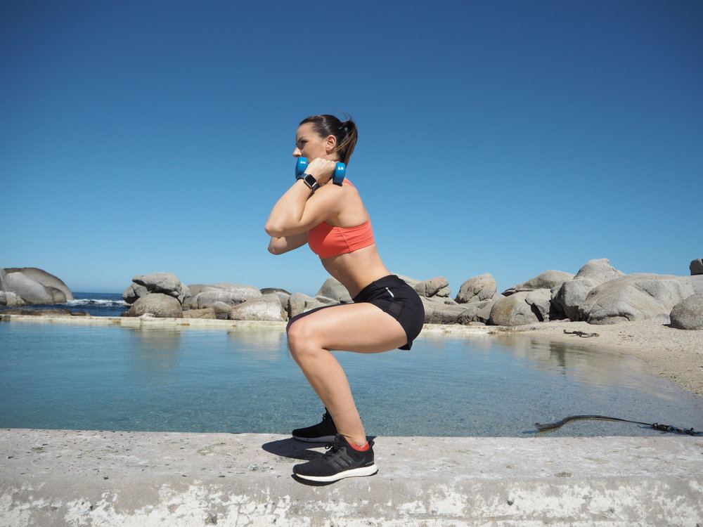Exercises like Squats are a great way to tone and strengthen the muscles of your buttocks--gluteus minimus and maximus--and your thigh muscles, the hamstrings and quadriceps