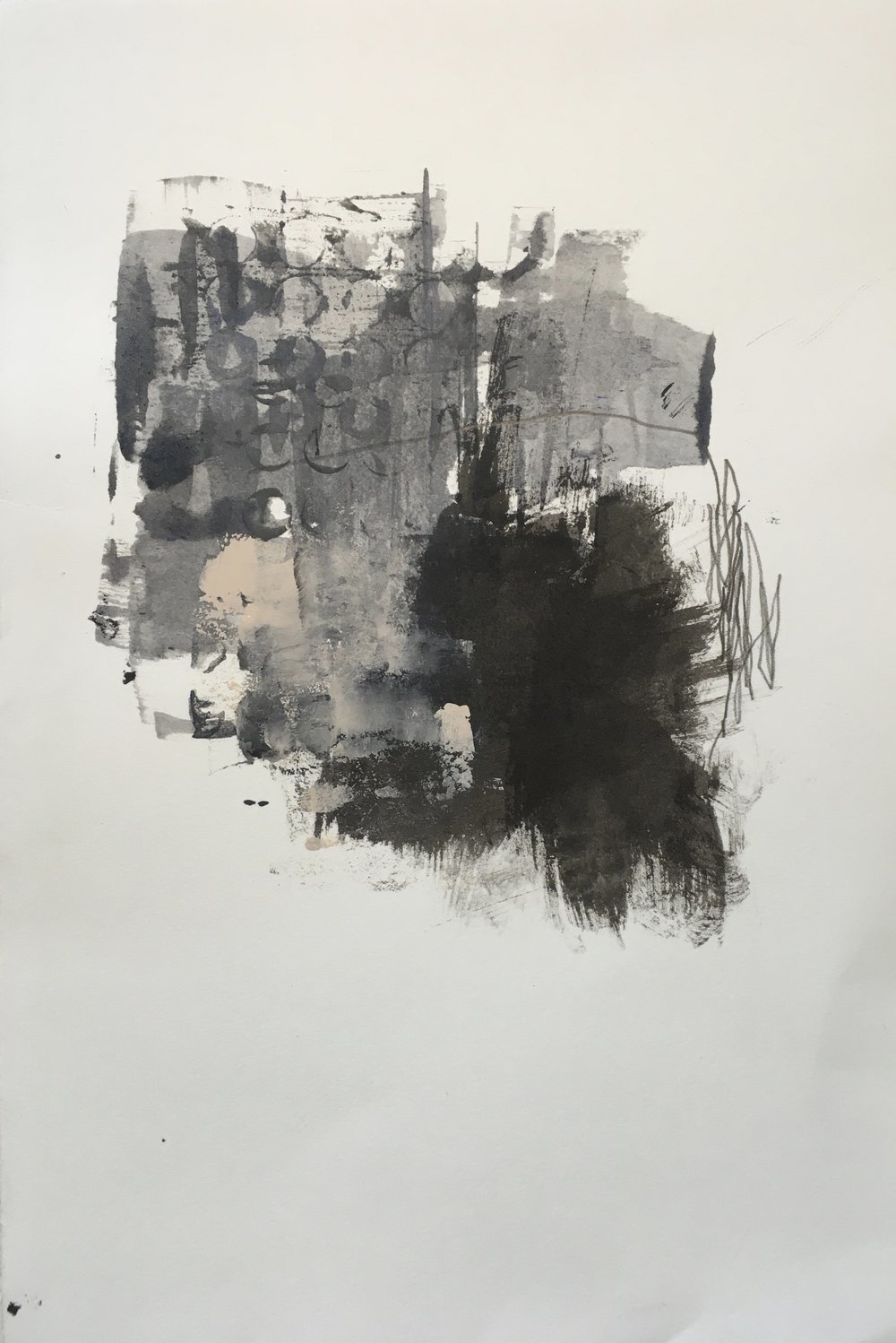 """11"""" x 7.5""""; mixed media on paper"""