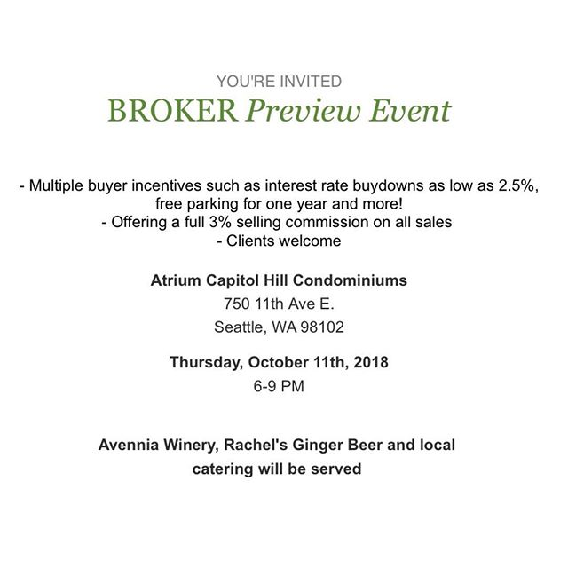 TONIGHT! 6-9pm: Broker Preview Party! Food + Drinks Provided! Capitol Hill's Newest Condo! Come say hi. 👋 . Atrium Capitol Hill. 750 11th Ave E, Seattle, WA. . #pridegroupnw #neighborhoodcollection #atriumcapitolhill