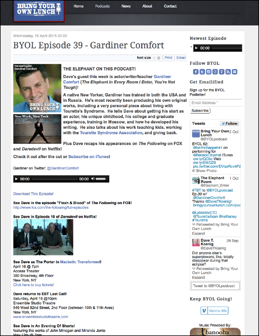BYOL Episode 39 with  Dave Koenig -    4/15/15