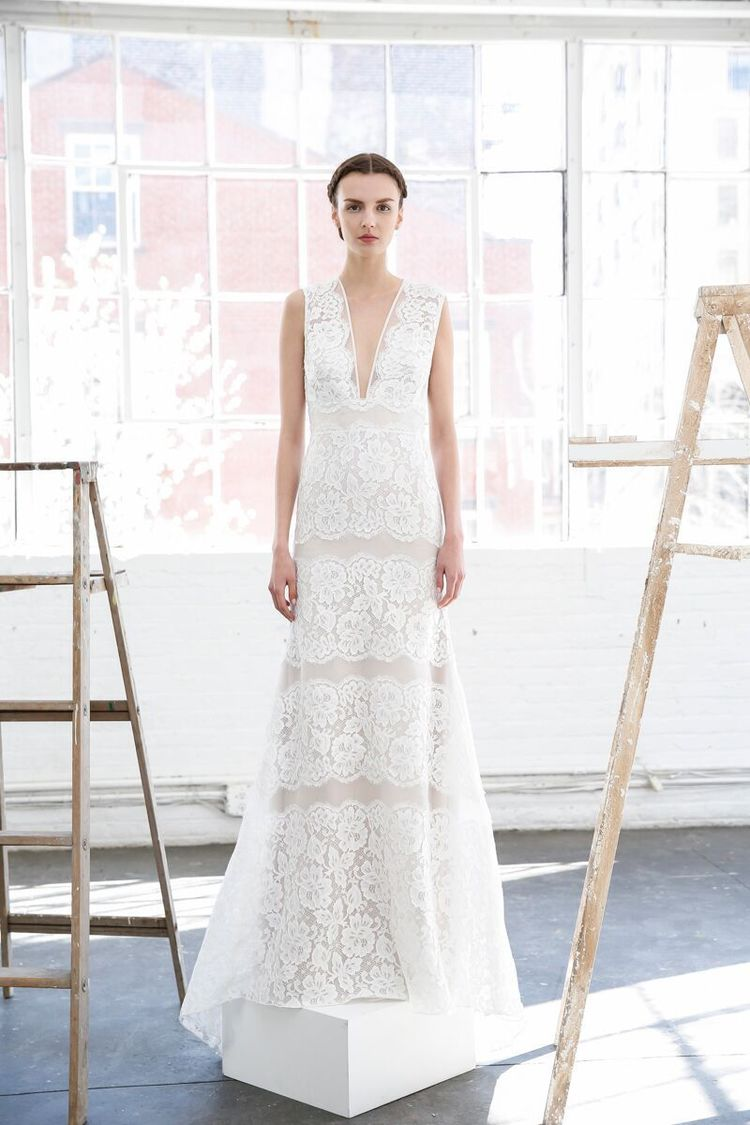 THE DRESS : Crisp and clean as a Nantucket sunrise, this organza sheath from   Lela Rose   teases tradition with its plunging V-neck and generous bands of lace.  (Photo: Dan Lecca)