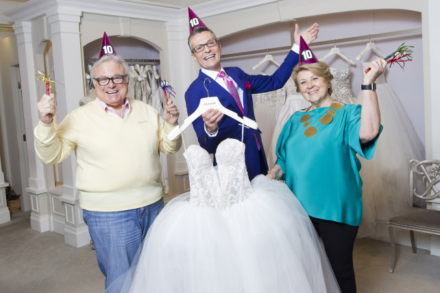 """Klienfeld shop owners Ronnie Rothstein (left) and Mara Urshel (right), celebrate 10 years of """"Say Yes to the Dress"""" with fashion director randy Fenoli."""