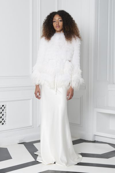 Monique Lhuillier Bliss dress, $2,490, and coat, $4,750.