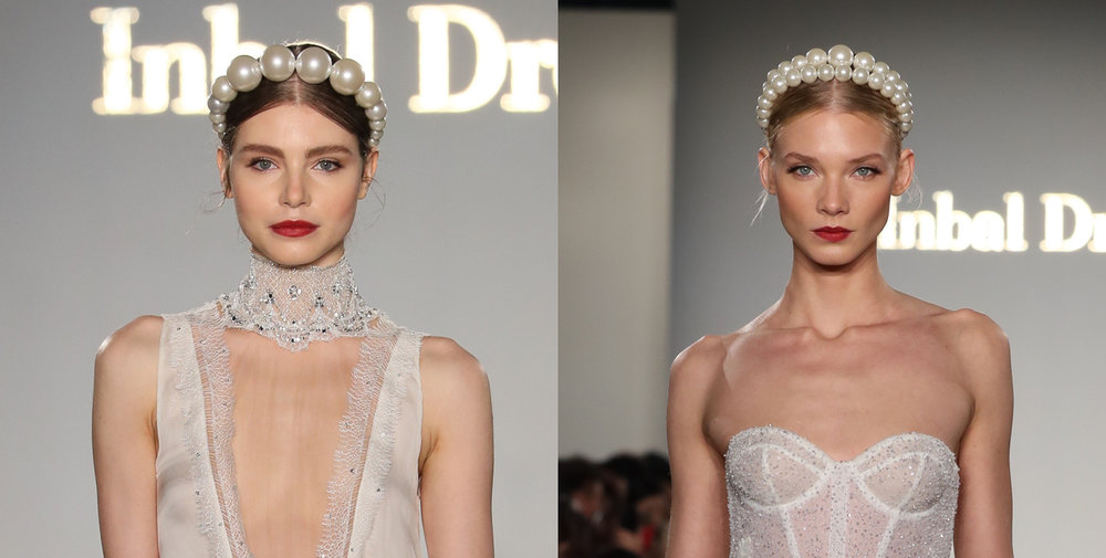 INBAL DROR: Girl with the Pearl Headband - Dror drew inspiration from Capri and the Mediterranean Sea, but those scene-stealing Keren Wolf headpieces had us thinking of a certain wildly famous Vermeer painting. Hairstylist Liz Rhodes for Spoke & Weal Salon opted for center-parted, low-slung pony-braids as a base for those killer, jaw-breaker sized beads – a smart choice. As for the maquillage, makeup artist Samantha Agostino paired lush berry lips with a playful dash of kitten liner and a wisp of seafoam shadow.