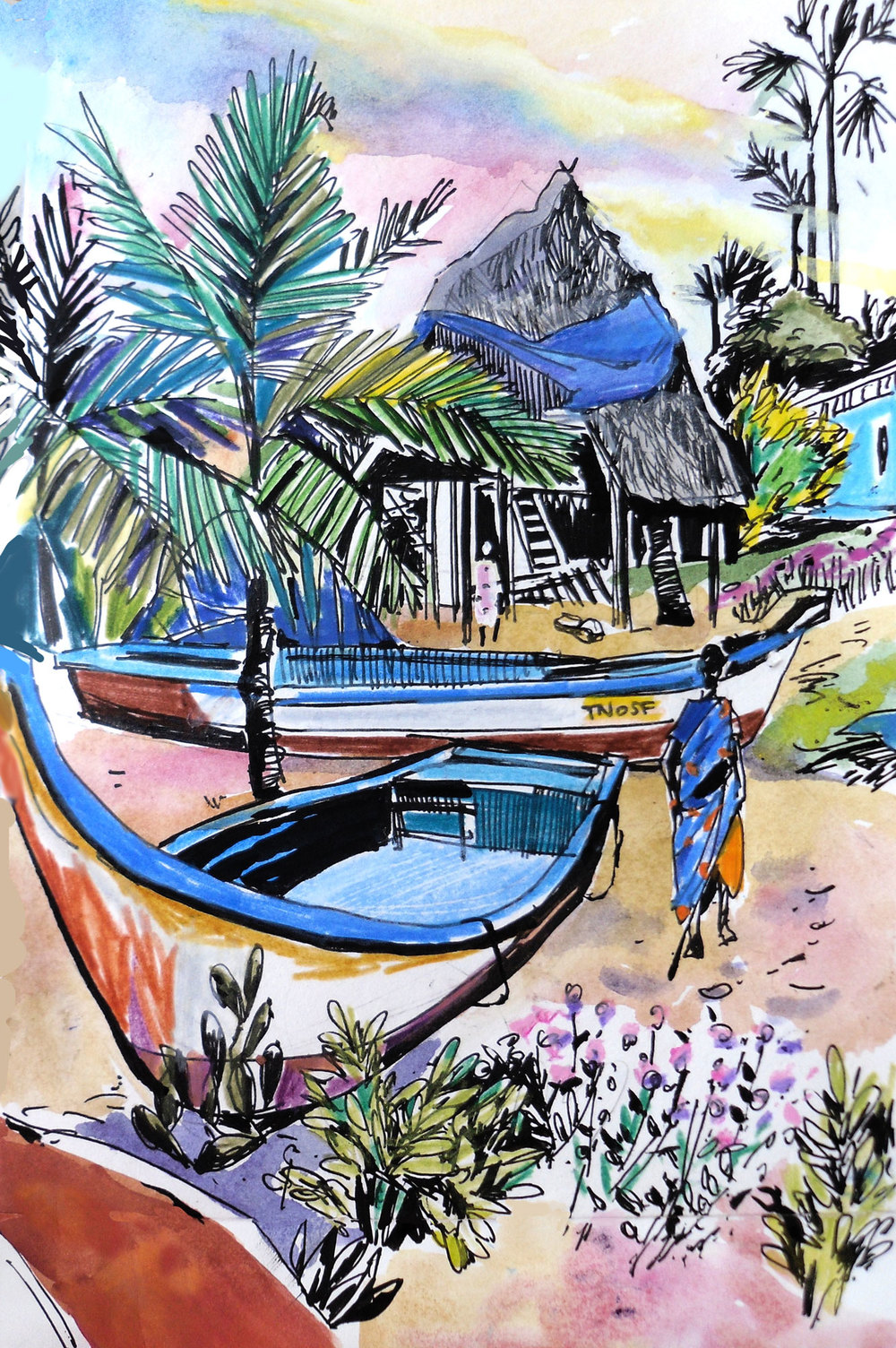 title: Waves beach guest house. Aurobeach. Pondicherry. INDIA size of Canson sketchbook page: 21 cm x 29 cm, technique: watercolors, black pen, watercolor pencils 15 September 2015