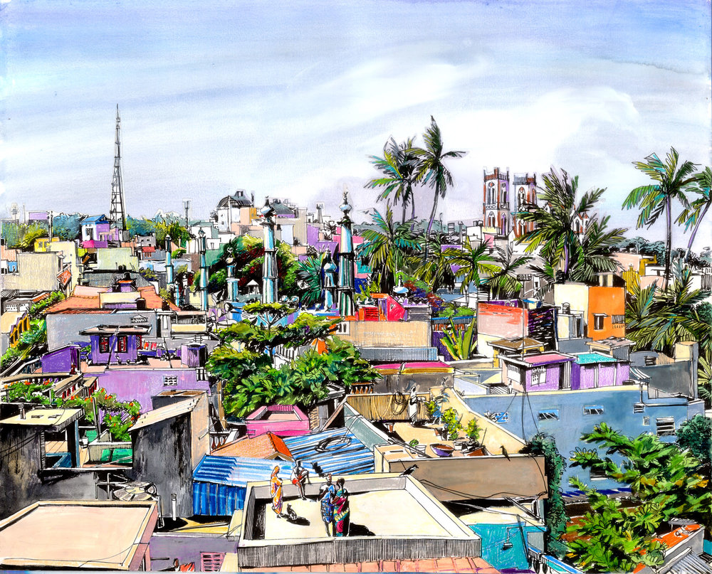 1.  Roofs of Pondicherry  Pondicherry. Original 60cm x 75 cm Gouache, colour pencils, water-colours, prismacolors, black ink